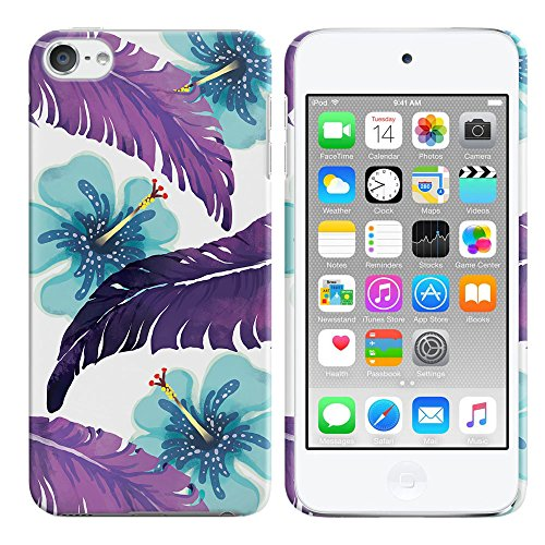 FINCIBO Case Compatible with Apple iPod Touch 5 6th Generation, Back Cover Hard Plastic Protector Case Stylish Design for iPod Touch 5 6 - Purple Tropical Leaf Flowers (Ipod 5 Case Purple Flowers)