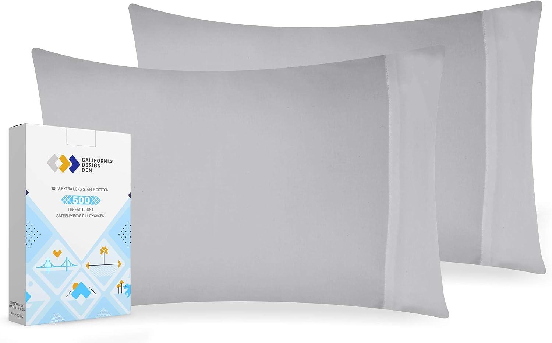 California Design Den Light-Grey Soft Pillow Case Set - 100% Natural Cotton 500 Thread Count Standard Size Luxury Pillowcases, 2 Piece Solid Sateen Weave Comfortable Pillow Cover