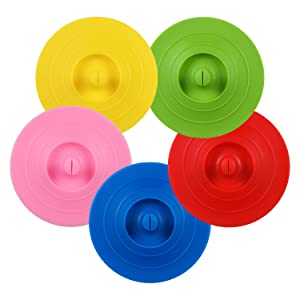 ME.FAN Silicone Cup Lids - Circle Cup Cover [5 Set] Anti-dust Airtight Seal Mug Cover - Hot Cup Lids/Spoon Holder - Silicone Drink Bowl Lids In Bright Colors