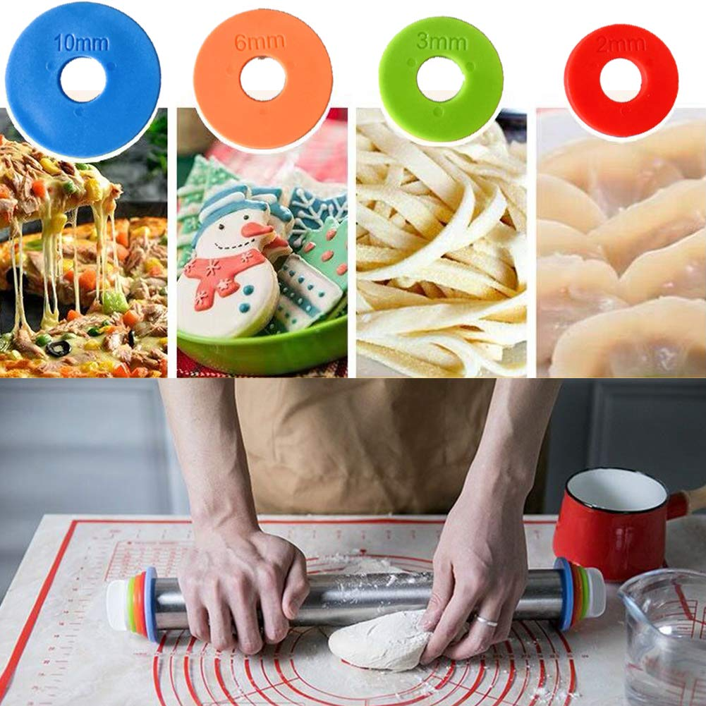 Amazon.com: BOUGUI Rolling Pin, Silicone Baking Pastry Mat ...