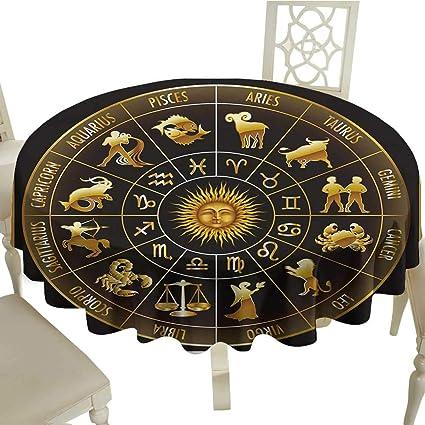 Amazon com: Black Round Tablecloth Astrology,Wheel Zodiac Astrology