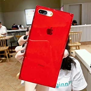 Tzomsze Square Case for iPhone 7 Plus,iPhone 8 Plus Transparent Case Cover Reinforced Corners TPU Cushion,Crystal Clear Slim Shock Absorption TPU Silicone Shell-Red