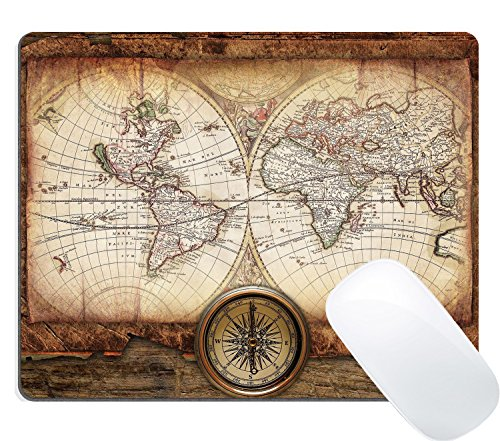 Vintage Mouse - Wknoon Gaming Mouse Pad Custom Design, Vintage World Map Gold Compass on The Old Wood, Non-Slip Thick Rubber Large Mousepad Mat