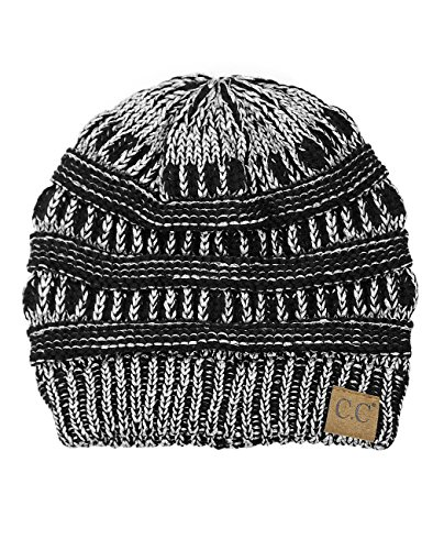 C.C Trendy Warm Chunky Soft Stretch Cable Knit Beanie Skully, Black/Met. Silver -