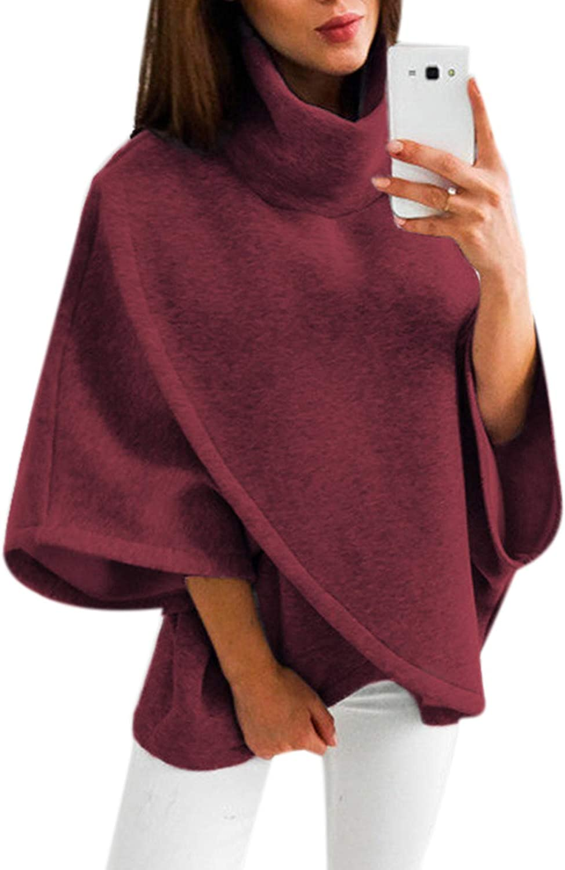 YOINS Poncho de Punto de Mujeres Elegantes Suéter Capa para Invierno Cálido Pullover de Cuello Alto Asimétrico