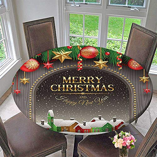 Mikihome Round Premium Tablecloth Classic Rustic Design Season Greetings Golden Christmas Letters Village Ornaments Multi Stain Resistant 31.5