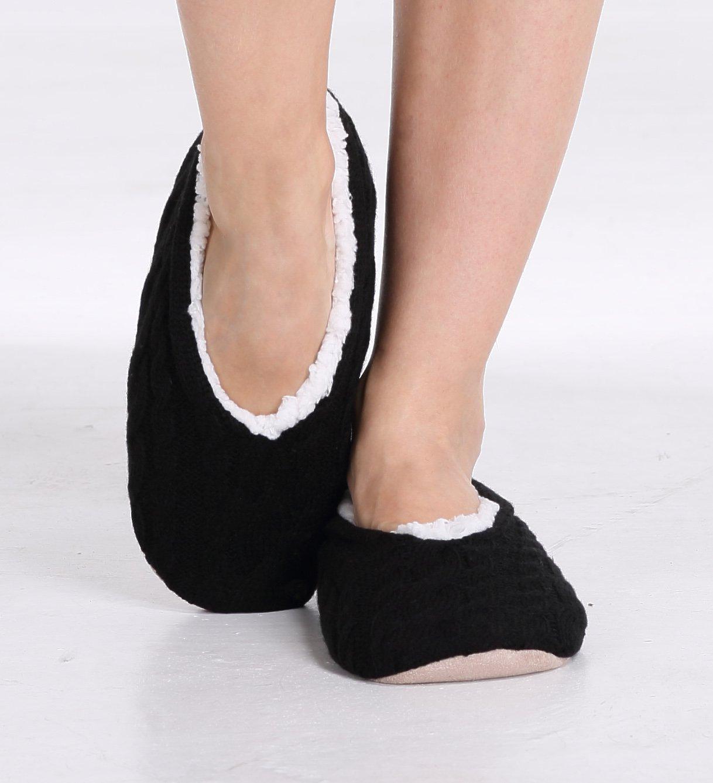 pembrook ladies cable knit slippers black medium 7 8 ballet