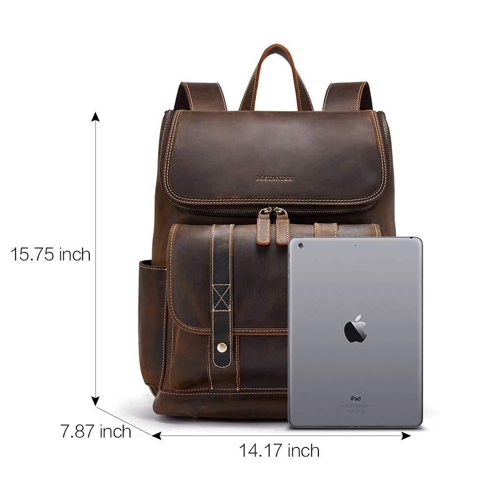 BOSTANTEN Leather Backpack 15.6 inch Laptop Backpack Vintage Travel Office Bag Large Capacity School Shoulder Bag by BOSTANTEN (Image #6)