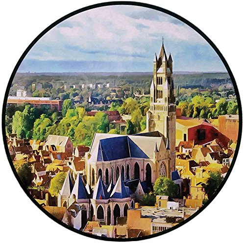 Printing Round Rug,Medieval Decor,Aerial Photo of Old Medieval Church and Gothic Town Middle Age Renaissance Europe Building Mat Non-Slip Soft Entrance Mat Door Floor Rug Area Rug For Chair Living Roo
