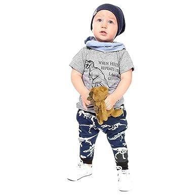 586008097bd67 Feiscat 子供服 ベビー服 キッズ服 赤ちゃん服 トップス Tシャツ ズボン パンツ 2点セット