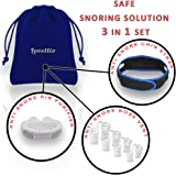 Lovellio Snore Stopper Kit – Safe anti snoring devices Snoring Solution Set with 3 Natural Remedies – Anti Snore Nose Vent Aids, Adjustable Chin Strap Guard & Wearable Air Purifier Device Value Pack