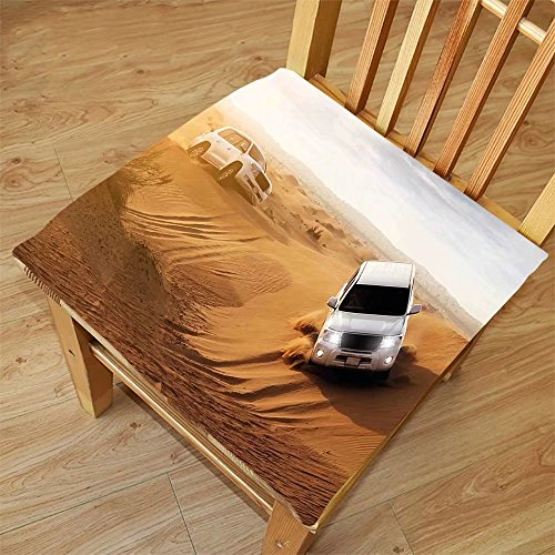 Safari Magnetic Activity Table (Nalahome Set of 2 Waterproof Cozy Seat Protector Cushion Sports Decor Race in African Desert Safari Adventure Exotic Hobby Activity Picture Sand Brown White Printing Size 16x16inch)