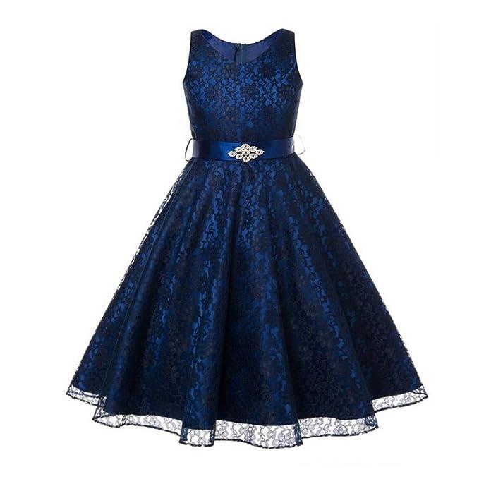 M&A Vestido Niña Para Fiesta Ceremonia Boda De noche Elegante, Negro azul, 160cm