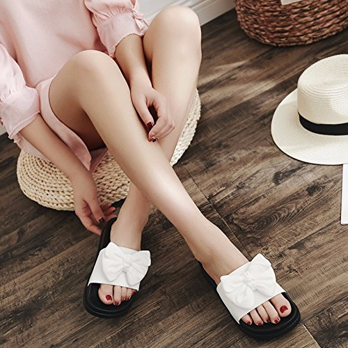 slippers XZ heels and shoes LIUXINDA Summer bow high White tide ladies' shoes slippers towels fashionable Summer cool muffins U0S0XnA
