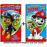 Paw Patrol Lot de cartes d'anniversaire Son et Brother (en langue étrangère)