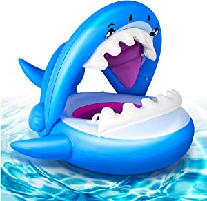 Baby Pool Float Inflatable Infant Shark Swimming Boat Float with Canopy Sun Shade Blue Outdoor Water Toys Gift for Boys Girls Toddler Kids 1 2 3 Year Old Aged 9-36 Months
