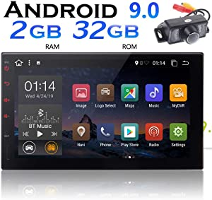 7 Inch Android Car Stereo Android 9.0 2 DIN Head Unit with Camera 2GB RAM 32GB ROM Double Din GPS Navigation LCD Touchscreen Car Radio with Bluetooth Support Mirror Link Car Logo Multi Color Buttons