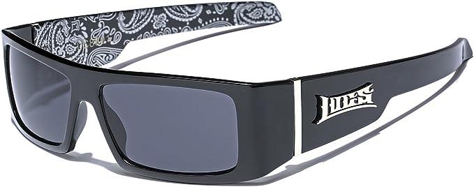 Mens BIKER GANGSTER HARDCORE LOCS SUN GLASSES Rectangular Black Frame Dark Lens