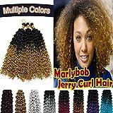 Marlybob Synthetic Crochet Braiding Hair Marlibob Water Wave Ombre 2 Tones Twist Crochet Hair Braids Afro Dreadlocks Kinky Curl Hair Bundles for Black Women 3 Packs/lot 270g Black to Yellowish Blonde