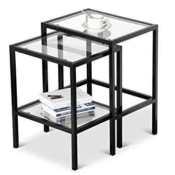 Amazon yaheetech set of 2pcs glass nesting tables living room yaheetech set of 2pcs glass nesting tables living room sofa side end table set black frame watchthetrailerfo