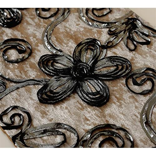 "Flower embroidered velvet tapestry table runner 72 inch approx 32cm(12.5"") 200cm(78"")"
