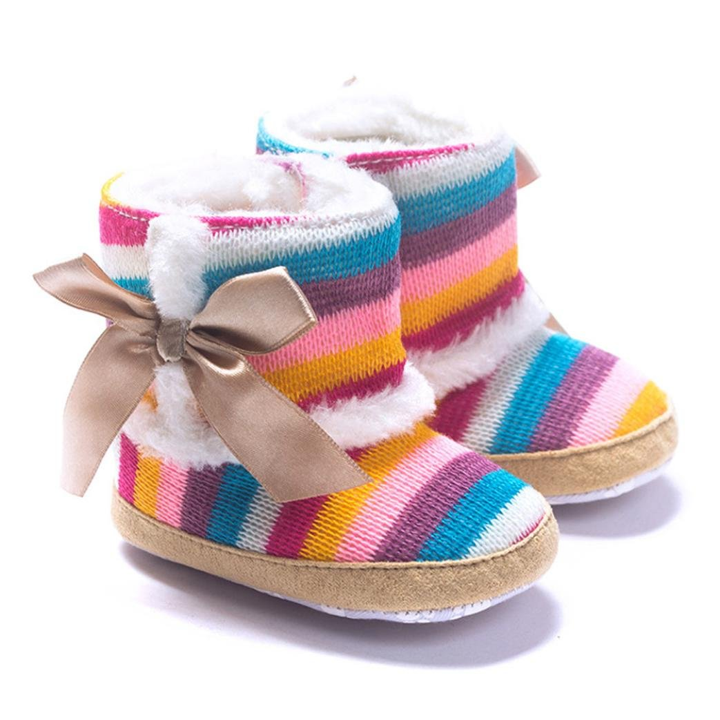 DZT1968 Baby Girl Rainbow Stripe Coral Fleece Snow Boots Shoes Bowknot
