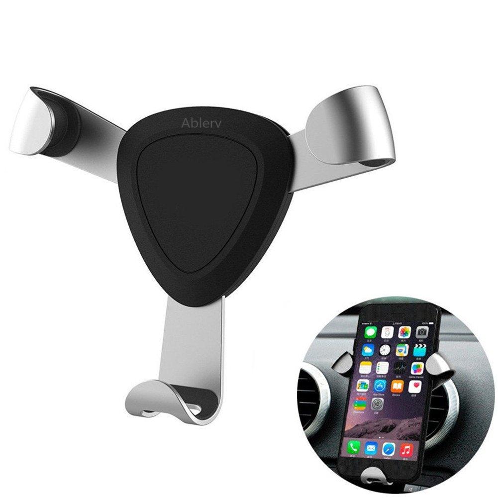 Ablerv Vent Phone Holder Novel Design Adjustable Car Phone Mount Universal Car Cradle Aviation Material for Smartphones - Silver dsaf