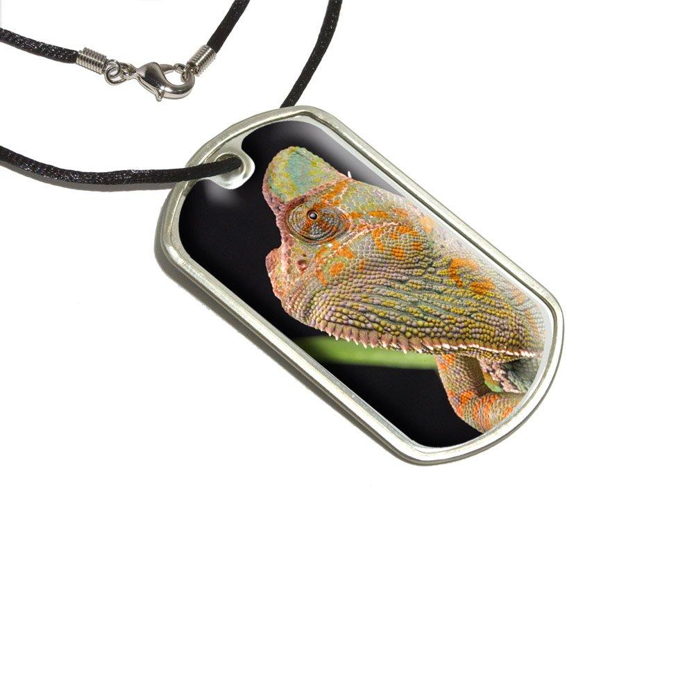 Veiled Chameleon - Lagarto Reptil Militar etiqueta de perro negro ...