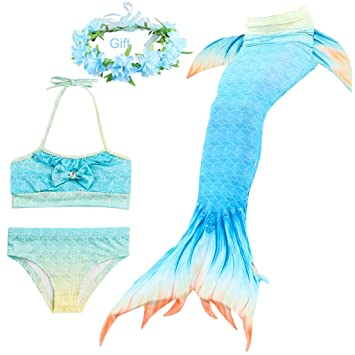 Home Mermaid Tail Swimsuit Swimmable Bikini Set Swimwear For Girl Princess Swimmable Mermaid Tail Cosplay Costume