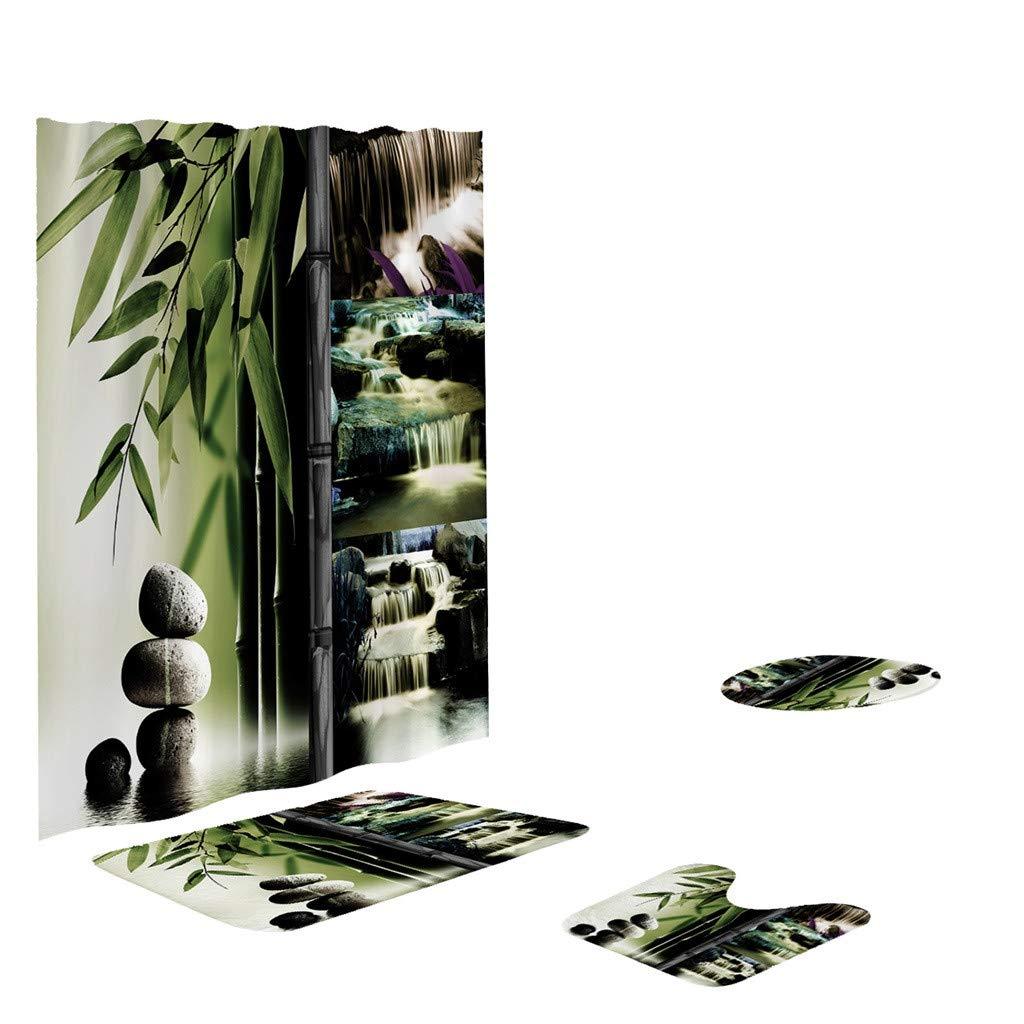 G 4PC Bathroom Shower Curtain Rug Mat Set Clearance Sale ...