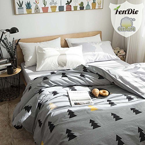 FenDie Pine Tree Printed Bedding Set - Twin Duvet Cover Fitted 2 Pillow Covers, Cotton Gray 3 Piece Reversible White Pattern