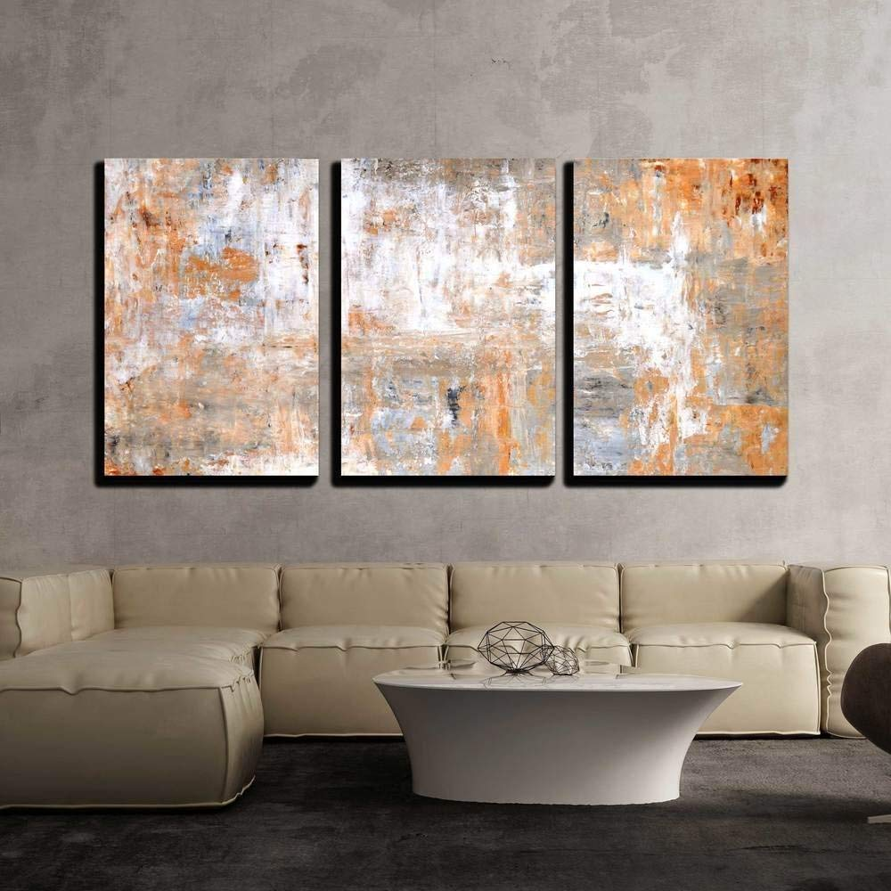 Charming Visual, Grey and Brown Abstract Art Painting x3 Panels, That's 100% USA Made