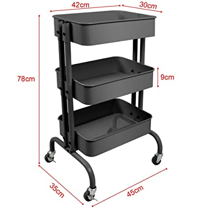 office trolley cart. NEW Gray 3-Tier Kitchen Rolling Storage Trolley Cart Utility Serving With  Casters Office Bedroom Office Trolley Cart L