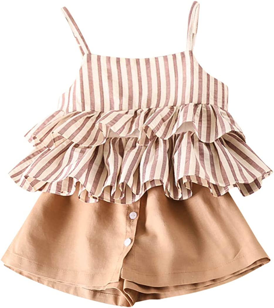Two Piece Clothes Set Stripe Ruffles Vest +Shorts Childern Baby Clothing 2019 Zolimx Girls Summer Outfits for Age 2//3//4//5//6//7 Years olds