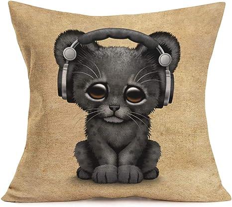 Aremetop Cartoon Animal Pillow Covers Lovely Animals Black Tiger Baby Wearing Headphones Cotton Linen Home Decor Pillowcase Throw Pillow Cushion Cover 18 X 18 Inches Tiger Baby Wearing Headphones Home
