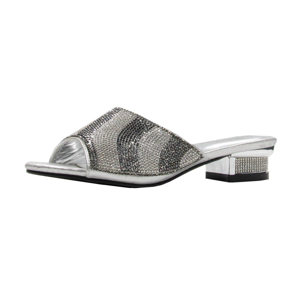 Women's Rhinestone Glitter Sparkles Open Toe Low Heeled Sandals with Memory Foam (9, Silver)