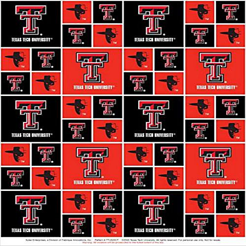 Texas Tech University Raiders Cotton Fabric, Scarlet & Black - Sold By the Yard