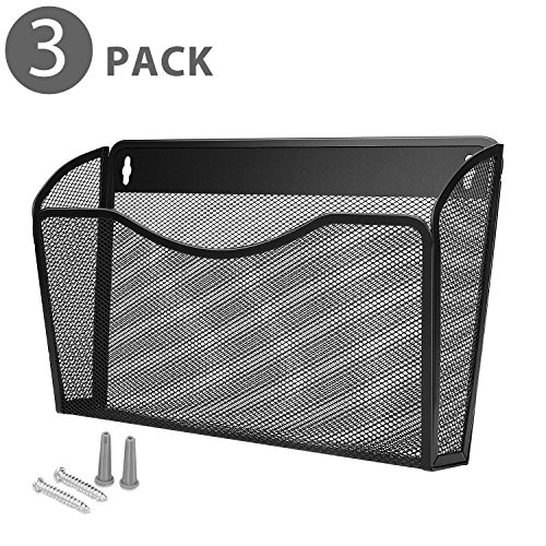 Flexzion Wall Mail Organizer Paper File Letter Size Pocket Holder Metal Mesh Hanging Storage Basket Rack Single Slot Wall Mount Document Box for Office Home & Classroom - Black (3 Pack)