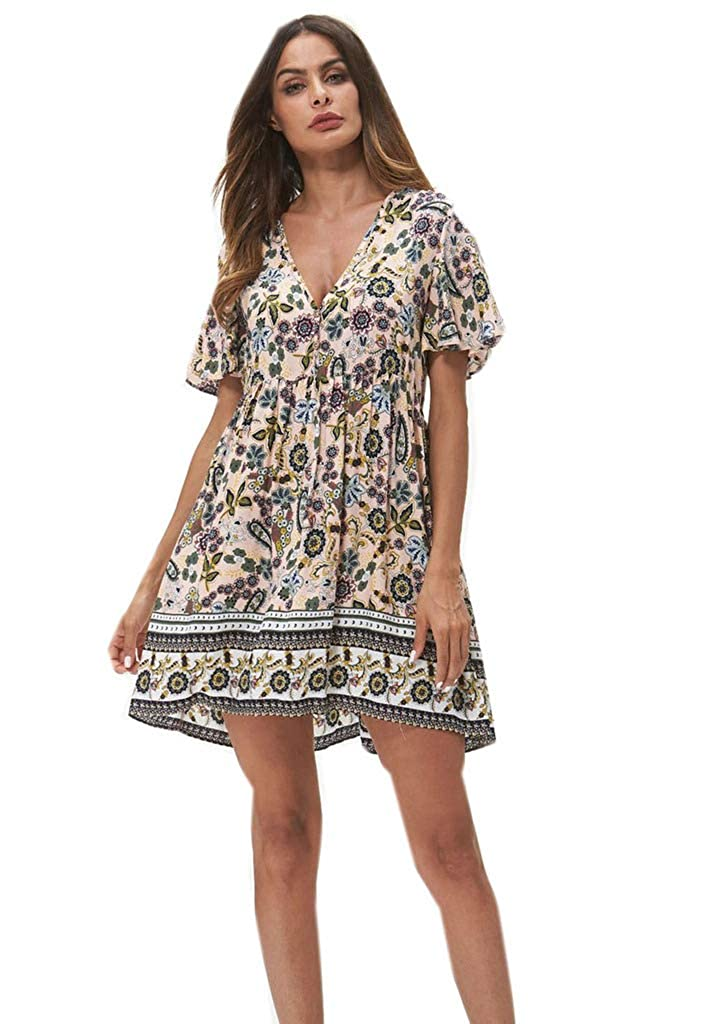 ed3cbec60a0 Amazon.com  Buy-Box Women Bohemian V Neck Ruffle Short Sleeve Floral  Printed Pleated Dress  Clothing