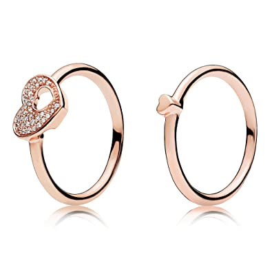 040255554 Puzzle Heart Ring Set Rose gold plated 925 Sterling Silver: Amazon.co.uk:  Jewellery
