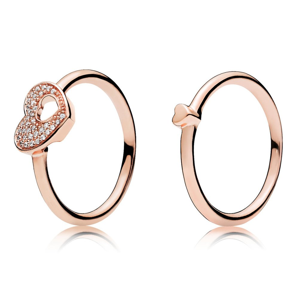 Puzzle Heart Ring Set Rose gold plated 925 Sterling Silver (9)