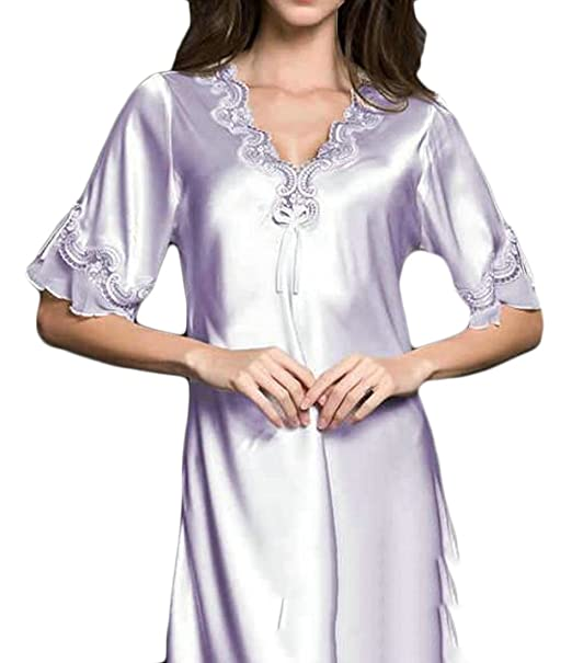 3ab62622b17a Cromoncent Women Short Sleeve Faux Silk Sleep Dress Silk Summer Sexy  Nightwear Nightgowns Light Purple XS