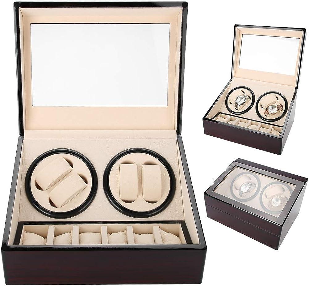 Salmue Caja Giratoria para Relojes, Caja de Enrollador de Reloj, para 4 Relojes Automáticos 6 Vitrina de Almacenamiento de Reloj de Pulsera, Estuche de Almacenamiento para Relojes de Exhibición