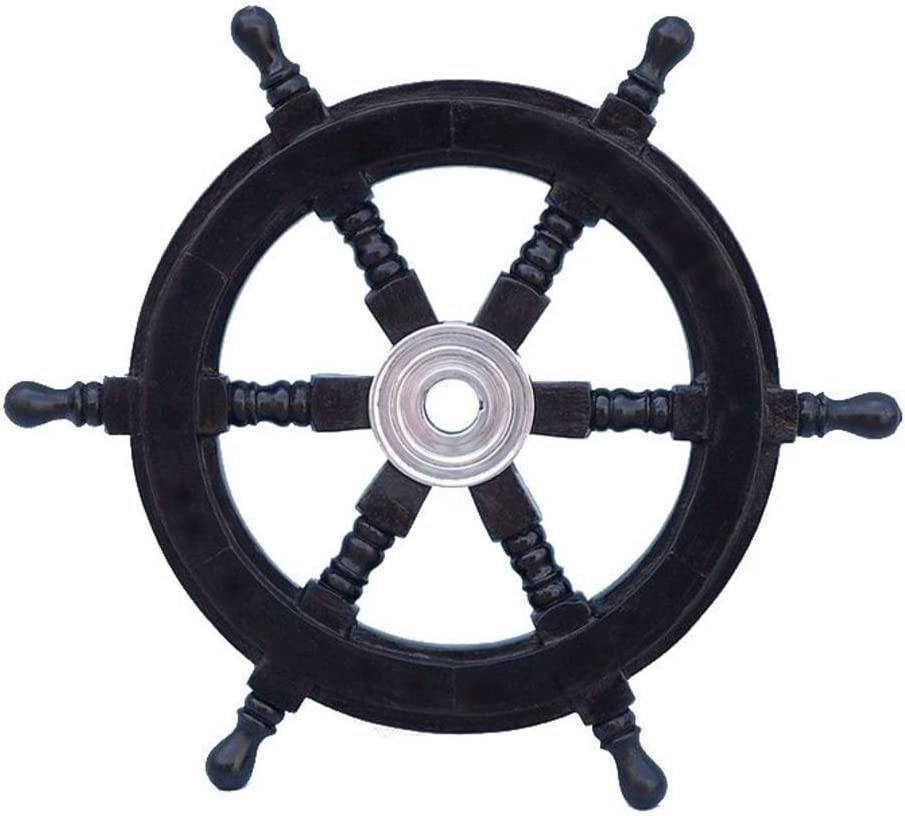 "Handcrafted Model Ships Deluxe Class Black Wood and Chrome Decorative Pirate Ship Steering Wheel 12"" - Nautical Decoration"