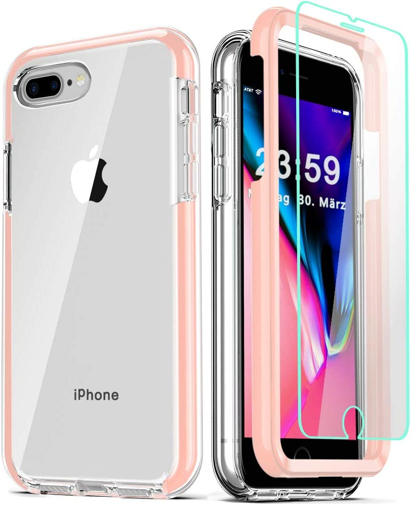 COOLQO Compatible for iPhone 8 Plus/iPhone 7 Plus/iPhone 6S/6 Plus Case, with [2 x Tempered Glass Screen Protector] Clear 360 Full Body Coverage Hard + Silicone TPU 3in1 Phone Protective Cover Pink