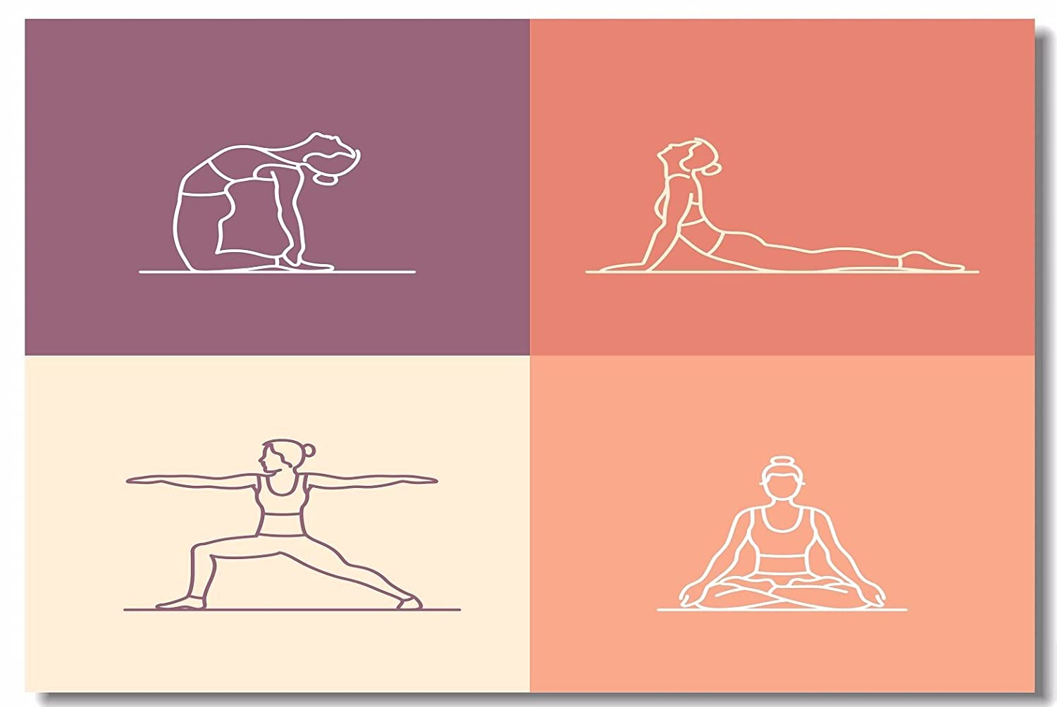 1x Poster Yoga Poses and Spirituality Exercise Meditating Women for SPA Bodybuilding Studio Home Room Hotel Office Wall Deco Prints 30x20 (75x50cm) ...