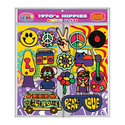61fx3D7QSrL - 1970's Hippies Gel Clings for Kids and Adults (15 Piece Set) - VW Bus Van, Peace, Love, Lava Lamp & More 3D Vinyl Window Clings - Reusable on Glass Surfaces, Smooth Walls, Vases, + More!
