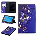 Anvas Kindle Fire 7 2017 Case - Super Lightweight Slim Fit Standing PU Leather Cover with Auto Wake/Sleep Feature for Amazon Kindle Fire 7 7' 7th Gen 2017 Release,Bluish Violet Butterfly