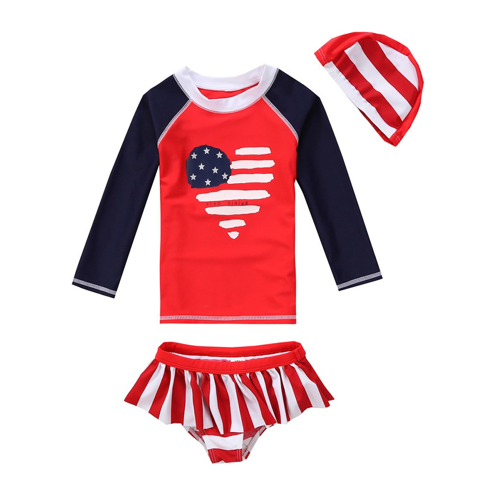 Vivobiniya Kid Girl Lovely Long sleeve Two-piece swimsuits Tankini Set Upf50+