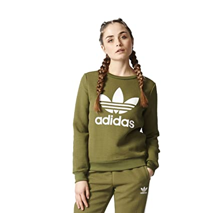speical offer newest collection 100% authentic adidas Originals Trefoil Crew Sweater Damen Pullover ...